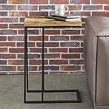 WOHNLING Beistelltisch BELLARY 31x70x46 cm Massivholz Tisch mit Metallgestell | Industrie Couchtisch eckig modern Design Holztisch mit Metallbeinen | Loft Wohnzimmertisch modern