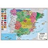 Erik® - Sous-Main Bureau Scolaire | Carte de l'Espagne, Version Espagnole | Sous-Main Bureau Enfant | 34x49cm