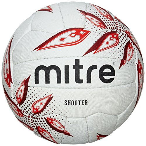MITRE SHOOTER MATCH NETBALL - WHITE/RED/RUBY  SIZE 5 BY MITRE