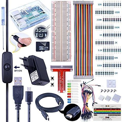Para Raspberry Pi 3 kuman Starter Kit 32 GB Versión 2.5A Fuente de Alimentación Cable USB Micro con Interruptor + Placa de pruebas + Placa de T-tipo de GPIO + 40 Pin de Cable de Cinta + Cables de Puente + Disipadores de calor + HDMI + Destornillador + Botónes Kit de Proyectos