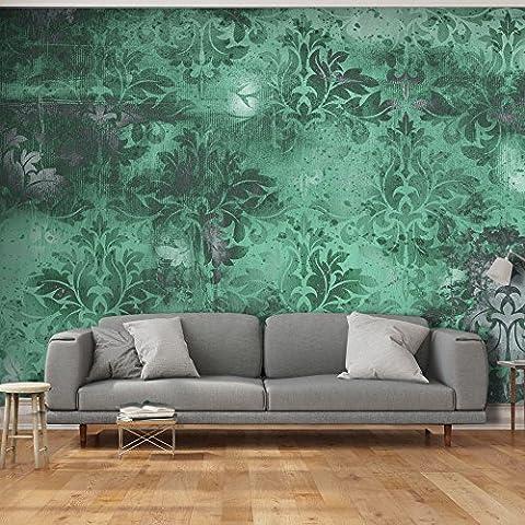 murando - Fototapete Ornament Türkis 500x280 cm - Vlies Tapete -Moderne Wanddeko - Design Tapete - Ornament Blätter f-A-0465-a-c