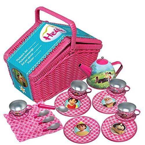 Studio 100 MEHI00000200 - Heidi - Picknick-Set mit Geschirr aus Metall im Korb