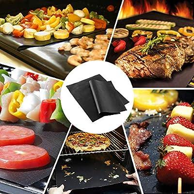 Korostro Grillmatte, 5er Set Backmatte BBQ Matten Wiederverwendbar 100% Antihaft Grillmatten für Gasgrill, Holzkohlegrill & Elektrogrill, Perfekt für Fleisch, Fisch und Gemüse 40x33cm (Schwarz)