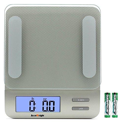 Accuweight bilancia da cucina elettronica multifunzione per alimenti, capacita massima 5kg, piattaforma di vetro temperato, argento