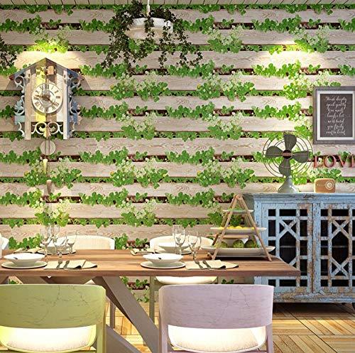 Tapete 3D Vlies Nachahmung Holzbrot Milch Tee Hotgood-Shop Des Woodgrain-Tapetenrestaurants Retro Nostalgisches Festes Hintergrundtapeten, 250 * 175