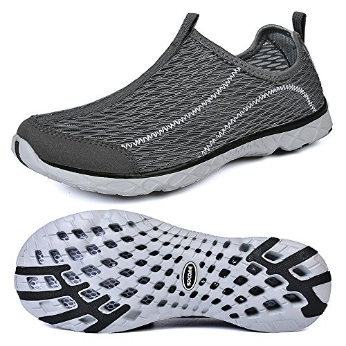 Qansi Ladies Swim Shoes Slip On Shoes Scarpe Da Spiaggia Aquasocks Scarpe Traspiranti Ad Asciugatura Rapida Grigio Scuro