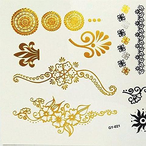 LZC Negro Pájaro Lazo Flor 15x20cm Tótem Impermeable Tatuaje Temporal Métalico Joyería Brazalete / Collar / Anillo Destello para Fiesta Vacaciones Party Discoteca Mascarada Etc Regalo para Navidad Oro Dorado Plateado Lujo Tattoos Tatoos Prima Set