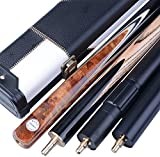 """Maple/Ash 57"""" Handmade 3/4 Piece SNOOKER CUE - Aluminum/ Black-white CASE - EXTENSION - Minibutt - Fast FREE Shipping - JY3"""