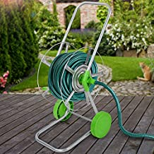 Jago – Carro para manguera de color verde y de metal con capacidad para manguera de aprox. 30-60 m