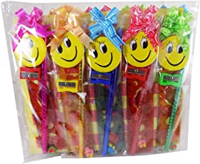 Set OF 12 Stationery Kit Pencil +Sharpener+ Scale +Ruler +Smile Pin +Set Best Return Gifts Item FOR kids birthday Party+12 Happy Birthday Printed Poly Bags