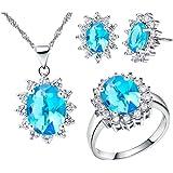 Collana di gioielli da donna, orecchini e anello con cristalli di zirconia cubica T466