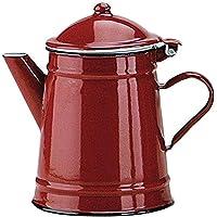 Ibili 910210 Cafetière Conique en acier émaillé vitrifié Rouge 1 l