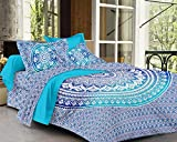 #9: SheetKart Traditional Ombre Mandala Cotton Printed King Size Bedsheet with 2 Pillow Covers - Sapphire Blue