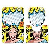 LYCXIAO Tappetini per Il Bagno Toilette da Bagno Personalizzata 3 Pezzi Tappetino Zerbino Tappeto da Bagno Tappetino da Toletta per La Casa Colore B