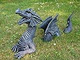 Figur de Jardin Dragon 3 pièces noir