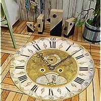 ZXHJK Carpets Rug Chenille Vintage Rug Clock Hardwearing Indoor Pile Decorative Rug 60X60Cm