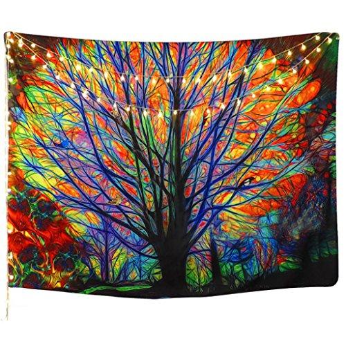 Multi Polyester (DERKOLY Colorful Tree Betten Yogamatte Art Wand Wandbehang Home Decor, Polyester, Multi, Large)