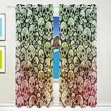 TIZORAX Gothic Totenkopf Vorhänge Verdunkeln isoliert Blackout Fenster Panel Drapes für Wohnzimmer Schlafzimmer 139,7x 213,4cm, Set von 2Panels