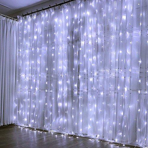 Cortina Luces, 3m x 3m 300 LED, Blanco Frío, Resistente