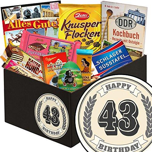 43 Geburtstag | Schokoladen Geschenk-Set in klassisch | schwarze Geschenkbox | Zahl 43 | zum Geburtstag | Schokoladengeschenk | mit Puffreis Schokolade, Viba, Zetti und mehr