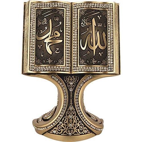 Beautiful Allah Muhammad Gold Book Kristall klar 16x 11cm geformt Ornament–Moslem Islamische Kunst