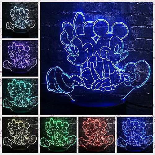 3D Nachtlicht LED Lampe Mickey Minnie Mouse Tinker Bell 7 Farben Zimmer Dekor Baby Geschenk G