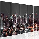 murando - Bilder New York 225x90 cm - Leinwandbilder - Fertig Aufgespannt - 5 Teilig - Wandbilder XXL - Kunstdrucke - Wandbild - Skyline NYC Stadt City d-B-0185-b-o
