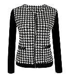 Dewapparel Frauen Damen Schwarz-weiß kariertes Mantel Stitching dünne kurze Manteljacke