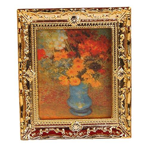 1:12 Kunststoff Rahmen mit Drucken Blumen Oil Painting Miniatur Puppenhaus Möbel -