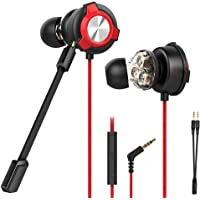 CLAW G13 Triple Driver Gaming Earphones with Dual Microphone and 3D Stereo Sound for Mobile Phones, Tablets, PC, Laptop, PS4, Xbox, Switch (Red)