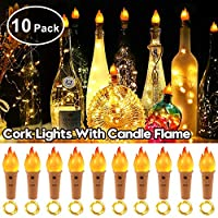 Wine Bottle Lights with Cork, StillCool 10 Packs 20 LED 6.6ft Flame Fairy String Lights, Battery Operated Warm White Lamp for DIY Party Christmas Halloween Wedding Indoor Outdoor Decoration