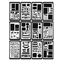 Buyby_Babys&Toy 12 Pieces Kids Adults Journal/Notebook/Diary/Scrapbook DIY Drawing Template Stencil