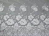 Zierrand bestickter Tüll Spitze Kleid Stoff Weiß–Meterware