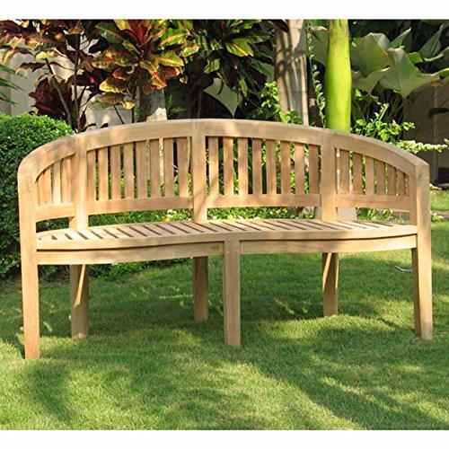 OUTLIV. Holzbank Garten Massiv Bananenbank Sandiego 3-Sitzer Bank Teakholz 150 cm Gartenbank Sitzbank