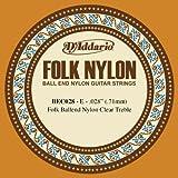 D'Addario Corde seule en nylon pour guitare folk D'Addario BEC028, nylon translucide, extrémité à boule, .028