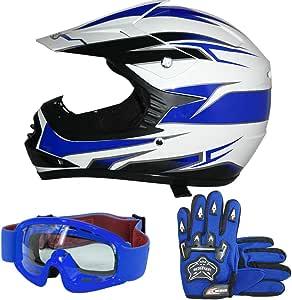 Leopard Leo X16 Kinder Motocross Helm Blau S 49 50cm Handschuhe Zorax Brille Kinder Quad Bike Atv Go Karting Helm Auto