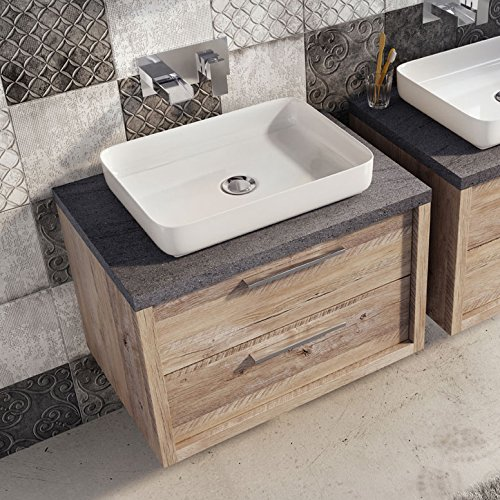 Tila wall mounted bathroom vanity unit light sawn oak resin basin tila wall mounted bathroom vanity unit light aloadofball Image collections