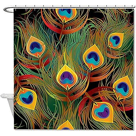 rioengnakg moho resistente tejido hermoso plumas de pavo real cortina de ducha de poliéster resistente al agua, poliéster, #1, 66