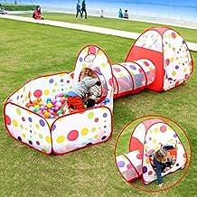 Juega tienda de la casa del túnel, EocuSun Pop Up Kids Play Tienda con Túnel y la bola del hoyo interior y exterior Fácil plegable linda del 3 en 1 juegos Parque infantil Casa con cremallera bolsa de almacenamiento