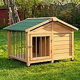Cuccia per cani in legno pretrattato, resiste alle intemperie; terrazza coperta e recintata, tetto spiovente e base rialzata; ideale alloggio temporaneo. Smontata alla consegna - montaggio semplice!