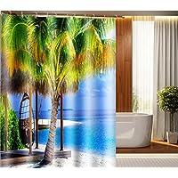 GYMNLJY Tenda doccia Tenda da doccia impermeabile stampa paesaggio marino , 200*180cm