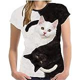 FOTBIMK Tee Shirt à Manches Courtes pour Femmes, Mode 3D Imprimé Chat Noir Et Blanc Col Rond à Manches Courtes T-Shirt De Spo