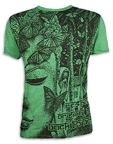 Sure Camiseta Hombre Butterfly Wisdom Talla M L XL Mariposa Espíritu Natural Buddhism Yoga Asia (L, Verde)