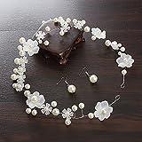 XPY&DGX Bridal Hochzeit Ballsaal Haarnadel Haarschmuck,Braut Kopfschmuck Spitze Hochzeit Haarschmuck weiß handgemachte Perlen Kopf Blume Schmuck Brautkleid Zubehör