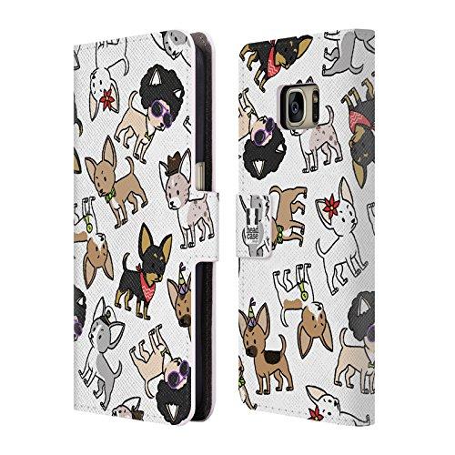 Head Case Designs Chihuahua Hunderasse Muster Brieftasche Handyhülle aus Leder für Samsung Galaxy S7