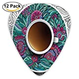 Coffee Herbal Tea Service Chat Happy Calming Time With Floral Detailed Guitar Picks 12/Pack Set