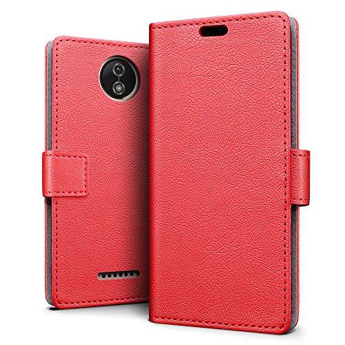 SLEO Motorola Moto C Hülle – Premium Luxuriös PU lederhülle [Vollständigen Schutz] [Kreditkartenfach] Flip Brieftasche Schutzhülle im Bookstyle für Motorola Moto C - Rot