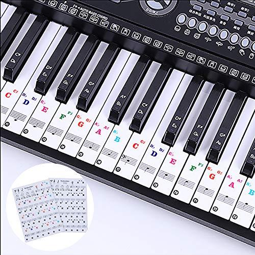 LABOTA 2 Pack Klavier Aufkleber für 88/61/54/49/37 Key Keyboards - Transparent und abnehmbar für weiße & schwarze Tasten
