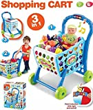 HALO NATION Big Size Shopping Cart Toy for kids - 3in1 Interactive Learning Toy with Light and Sound multicolor