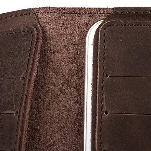 Étui portefeuille en cuir véritable pour Blu Studio Mini LTE marron marron